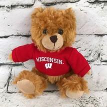 Plushland Wisconsin Teddy Bear Plush Brown Sitting Stuffed Toy Wearing H... - $7.91