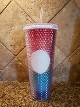 New Starbucks 2020 Rainbow Pride Studded Bling 24 Ounce Tumbler Cup w/S... - $39.59