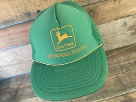 Vintage JOHN DEERE Nothing Runs Like A Deere Trucker Mesh Snapback Adult Cap Hat - $22.76