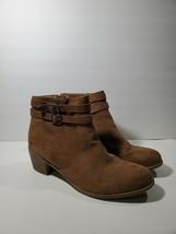 American Eagle Booties 11 Womens Brown Ankle Zip Suede Winter Heeled - $24.85