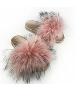 Raccoon Fur Slippers Open Toe Fluffy Slides Beach Shoes Mixed Colors Wom... - $37.99