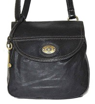 Fossil Black Leather Small Flap Crossbody Handbag - $46.45