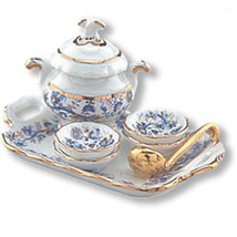Miniature Corner Dollhouse Miniatures Gold Blue Onion Soup Set #MC16435 - $23.00