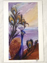 "Peacock By The Ocean Beach Art Print Signed BER 2016 11"" x 17"" - $19.00"
