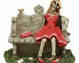 """Gothic Day Of The Dead Skeleton Lady Waiting For The Perfect Man Statue 5""""Long"""