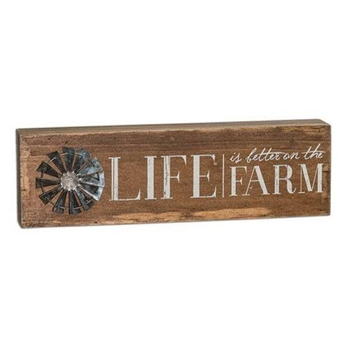 Farm Life Metal Windmill Wooden Table Sign Gift Idea - $24.70