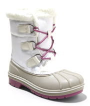 Cat & Jack Girls' White Purple Magenta Roma Waterproof Thermolite Winter Boots