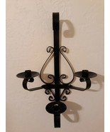 Wrought Iron Wall Sconce Candelabra 3 Arm Metal Scroll - $29.65