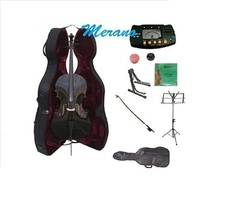 Merano 3/4 Size Black Cello,Hard Case with Bag and Bow+2 Stands+Tuner+Ro... - $399.99