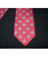 VINTAGE MEN'S GIVENCHY MONSIEUR RED BLUE CIRCLES SHAPE 100% SILK MADE IT... - $28.05