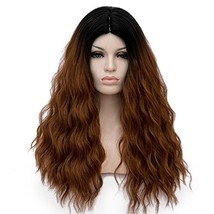 Amback Brown Dark Roots Curly Wig Cosplay Halloween Wigs for Women Brown... - $23.89