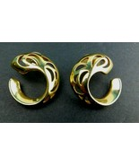 VTG Earrings Gold Tone Chunky Swirl Pierced Earrings BOHO Mid Century Ar... - $14.69