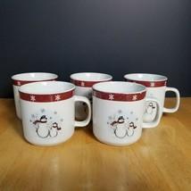 Royal Seasons Stoneware RN1 Coffee Cups SNowmen Red & White Snowflake Trim - $6.92