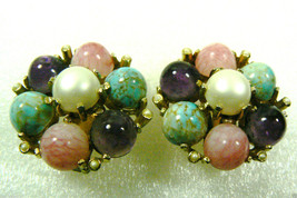 Fantastic multi color stone large round gold tone metal clips earrings - $71.24
