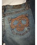 Indian Rock Culture Women's Distressed Bootcut Jeans Skulls Sz 29 - $49.49