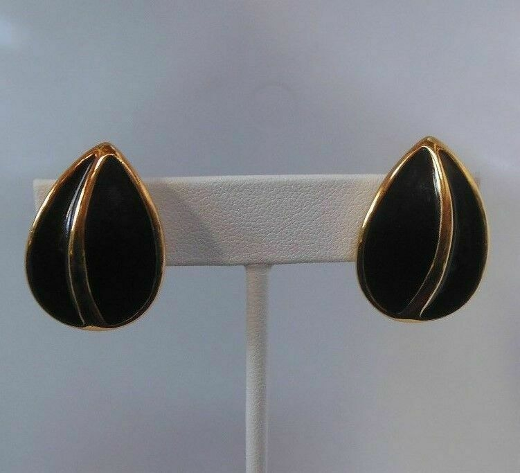 Primary image for Signed Napier Black Enamel Teardrop Clip and Screw Earrings
