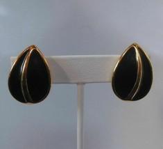 Signed Napier Black Enamel Teardrop Clip and Screw Earrings - $13.86