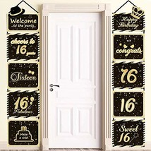 Large Glittery 16th Birthday Sign, 16th Happy Birthday Cutouts Hanging Banner, S