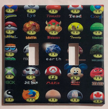 Mushroom icon mario DC Pokemon + Light Switch Outlet wall Cover Plate Home Decor image 3