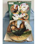 NIB SAKURA ON THE FARM SET OF 4 SALAD/DESSERT PLATES DAVID CARTER BROWN ... - $32.73