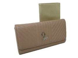 Nine West Checkbook Cover & Wallet Duplicate Flap 2 Piece Set Mink Tan Beige NWT - $39.59