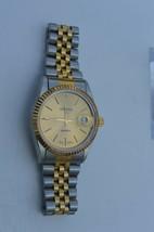 Vtg Swiss Parts ''geneva'' Quartz Watch Runs Great Enlarged View Date Watch - $23.33