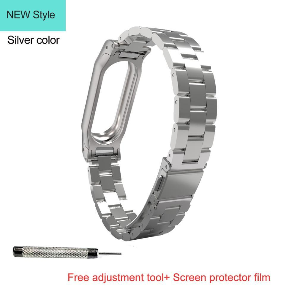 Mijobs Replaceable Stainless Steel Wrist Strap For Xiaomi Mi Band 2 Oled Silver Plis Mi2 Metal Bracelet Screwless Stainl