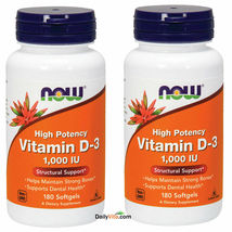 2x NOW Foods High Potency Vitamin D-3 1000 IU 180 Softgels Made In USA  - $26.86