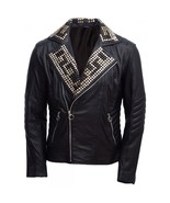Handmade Men's Magnificent Padded Leather Jacket, Black Silver Gold Stud... - $249.99