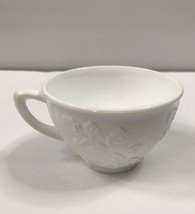 One Vintage Milk Glass Paneled Grape and Leaves Coffee Tea Cup  - $14.01