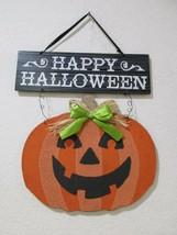 """Halloween HAPPY HALLOWEEN Pumpkin Hanging Wall Sign Door Plaque Decor 18"""" - $15.99"""