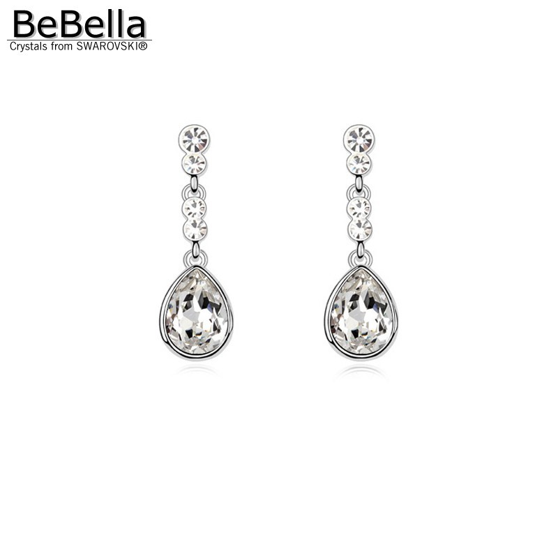 BeBella meringue pierced crystal drop earrings made with Crystals from Swarovski