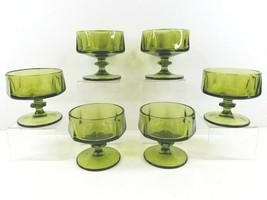 6 Colony Nouveau Green Champagne Sherbet Glasses Set Vintage Glass Mid Century - $56.30
