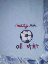 Carter's Baby Boy DADDY'S Little All STAR Lovey Blanket Blue Satin Trim EUC - $15.68