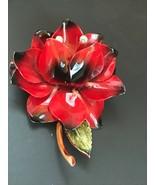 Vintage Large Dimensional Black & Red Enamel Flower w Aurora Borealis Rh... - $19.49