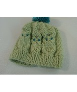 Handcrafted Knitted Child Hat Lime/Teal Owl Pom Pom 100% Wool Female 3T - $31.07