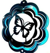 4 in stainless steel teal butterfly USA 3D hanging garden wind spinner, spinners - $11.00