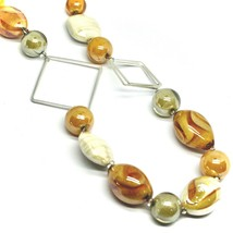 NECKLACE ORANGE WHITE ROUNDED DROP, SPHERE EXAGON MURANO GLASS SQUARE ITALY MADE image 2