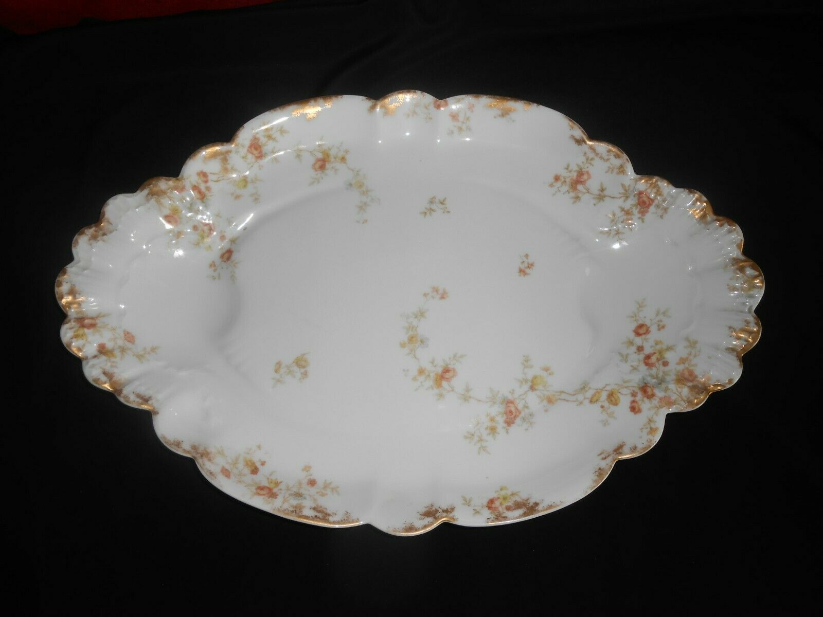 Antique Haviland Limoges Large Serving Platter Floral Gold Gilt Fine Dining