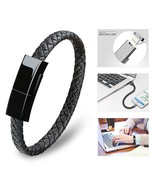 USB Charging Cable Bracelet Fashion Wrist Data Charger Sync Cord Leather... - $14.49