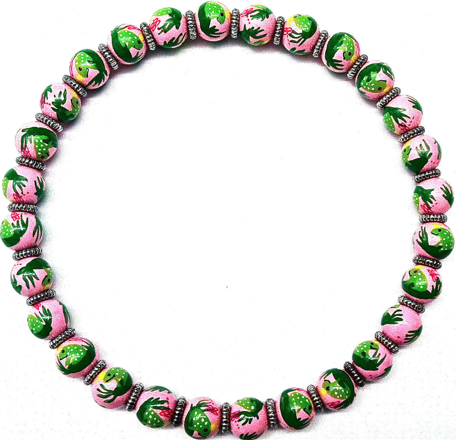 NEW IN POUCH ANGELA MOORE PINK BEADED NECKLACE WITH GREEN FROGS