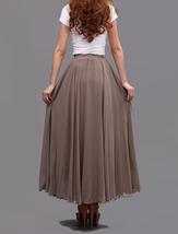 Taupe Maxi Chiffon Skirt Women Chiffon Maxi Skirts High Waist Bridesmaid Skirts image 10