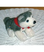 """Build-A-Bear Plush 7"""" Gray & White Husky Puppy Dog Wears Red Magnetic Ba... - $9.49"""