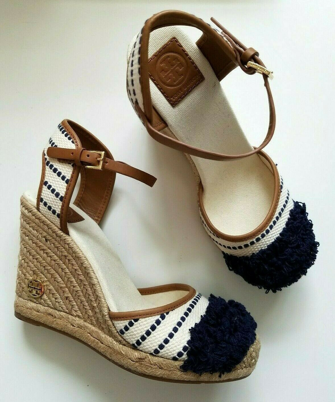 Tory Burch Espadrille Wedges Sandals Navy Cream Wedge Size 10.5 US NEW - $199.00