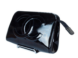Authentic CHANEL Patent Leather Black Pouch Bag CP1079 - $189.00