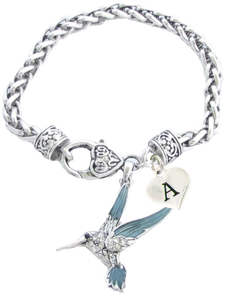 Primary image for Custom Blue Green Hummingbird Silver Bracelet Jewelry Choose Initial or Family