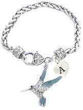 Custom Blue Green Hummingbird Silver Bracelet Jewelry Choose Initial or ... - $15.19