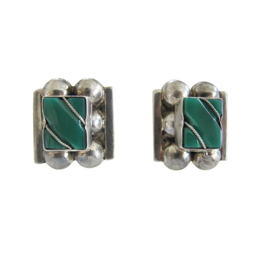Vintage Mexican Sterling Silver & Green Onyx Square Screw Back Earrings