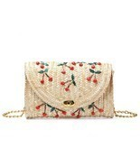 Women Lady Straw Clutch Bag Boho Summer Purse Handbag 2018 Stylish Cherr... - €11,72 EUR