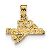 14K Yellow Gold I Love Baseball Pendant - $69.99